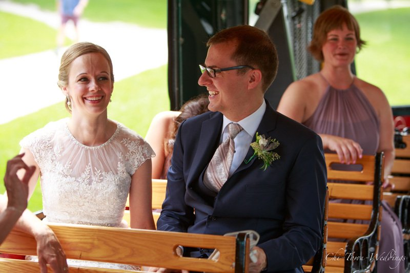 Candid Bride and Groom on a bus