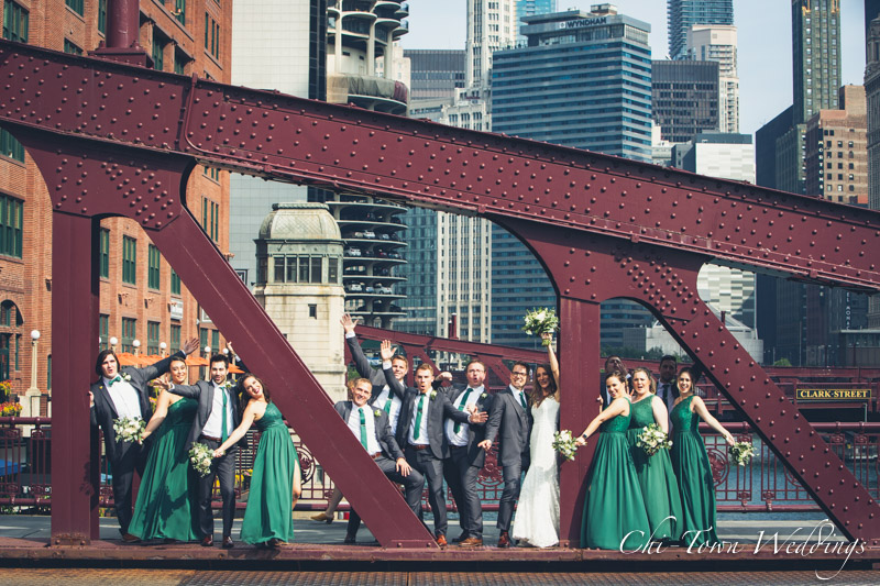 www.Chi-Town-Weddings.com Wedding Party lasalle st bridge chicago