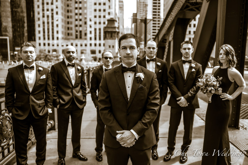 www.Chi-Town-Weddings.com  Grooms Lasalle St Bridge